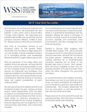 WSS CPAs 2019 year-end newsletter